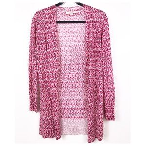 LOFT Soft Pink Floral Open Cardigan Size Medium
